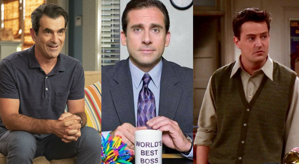 From L-R: Phil Dunphy from Modern Family, Michael Scott from The Office, Chandler Bing from Friends.