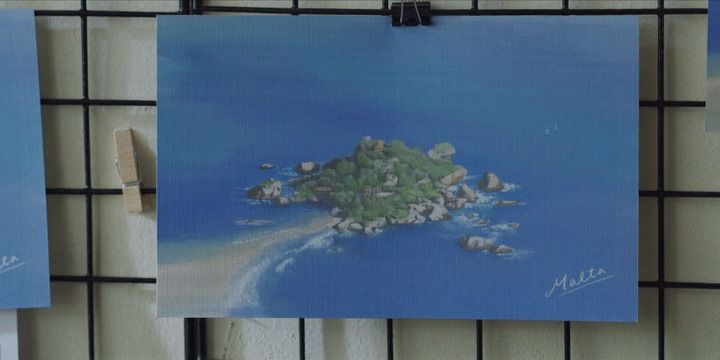 An island off Malta in a postcard sent by Vincenzo Cassano to Hong Cha-young. Photo: Netflix