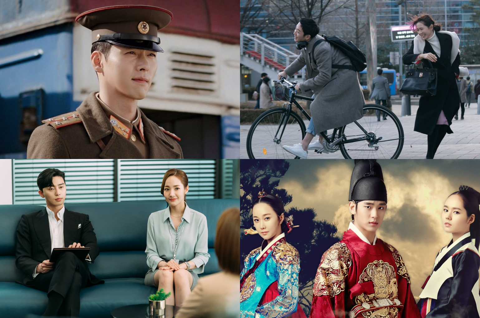 Clockwise (from top left): Crash Landing On You, Something in the Rain, Moon Embracing The Sun, What's Wrong With Secretary Kim?