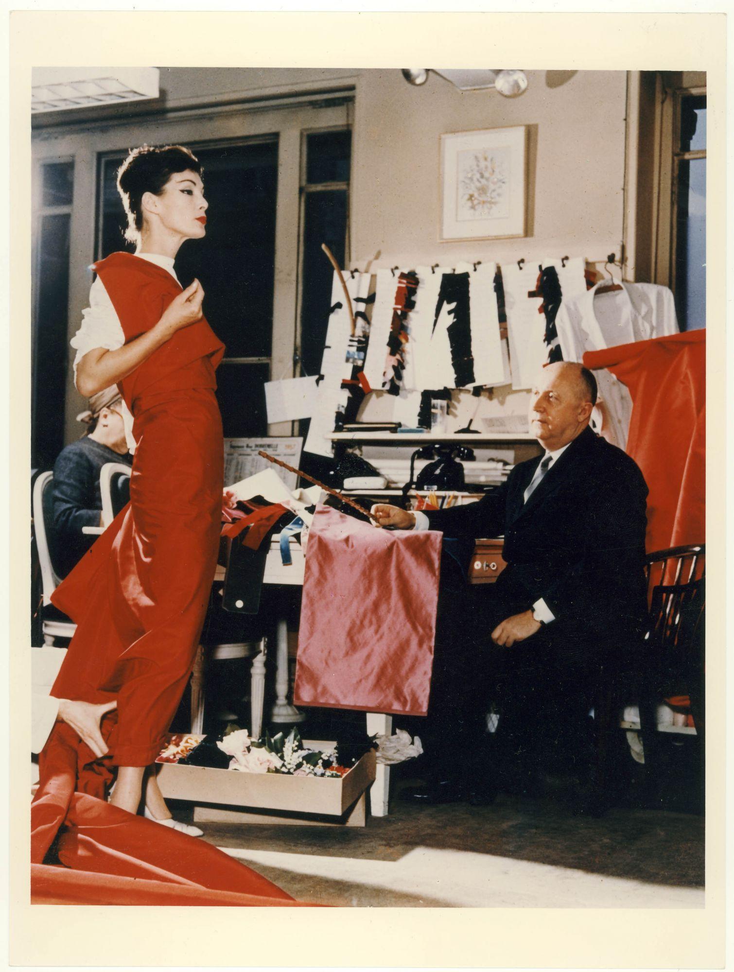 Christian Dior with model Lucky, circa 1955. (Photo: Courtesy of Christian Dior)