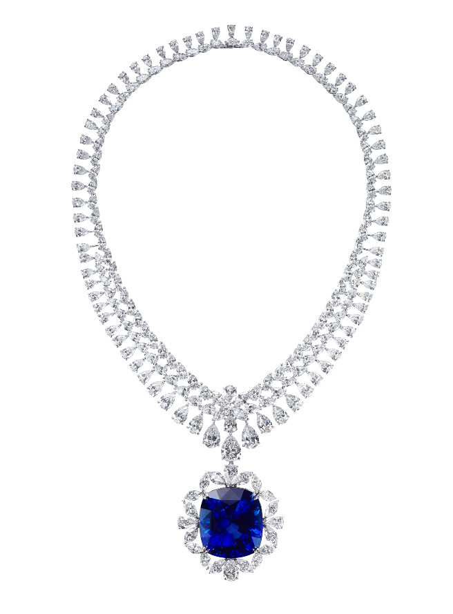 Masterpieces Splendor necklace with cushion-cut 124ct Sri Lankan sapphire