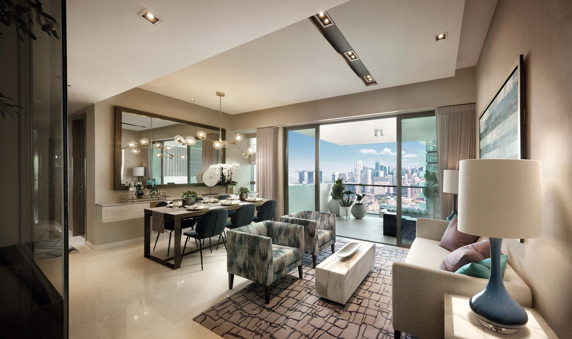 The work of boutique firm Janet McGlennon Interiors, this show unit features modern interiors inspired by its stunning city views