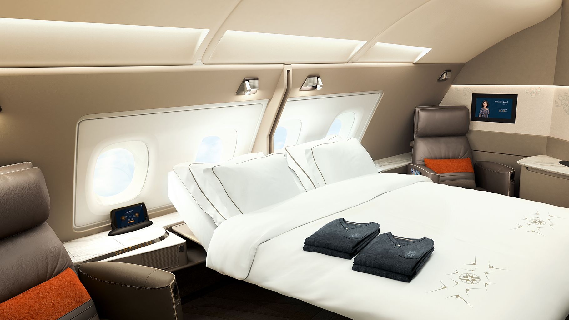 Private Suites, Doubles Beds And Swivel Chairs Aboard Singapore Airlines
