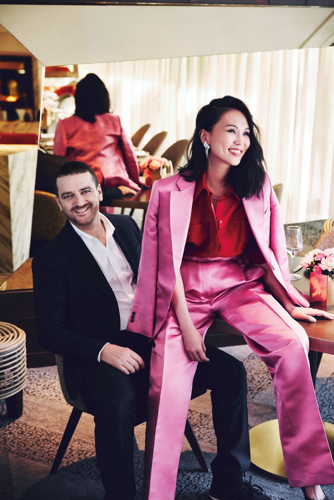 Beppe and Lynn wear Salvatore Ferragamo; jewellery by Tiffany & Co