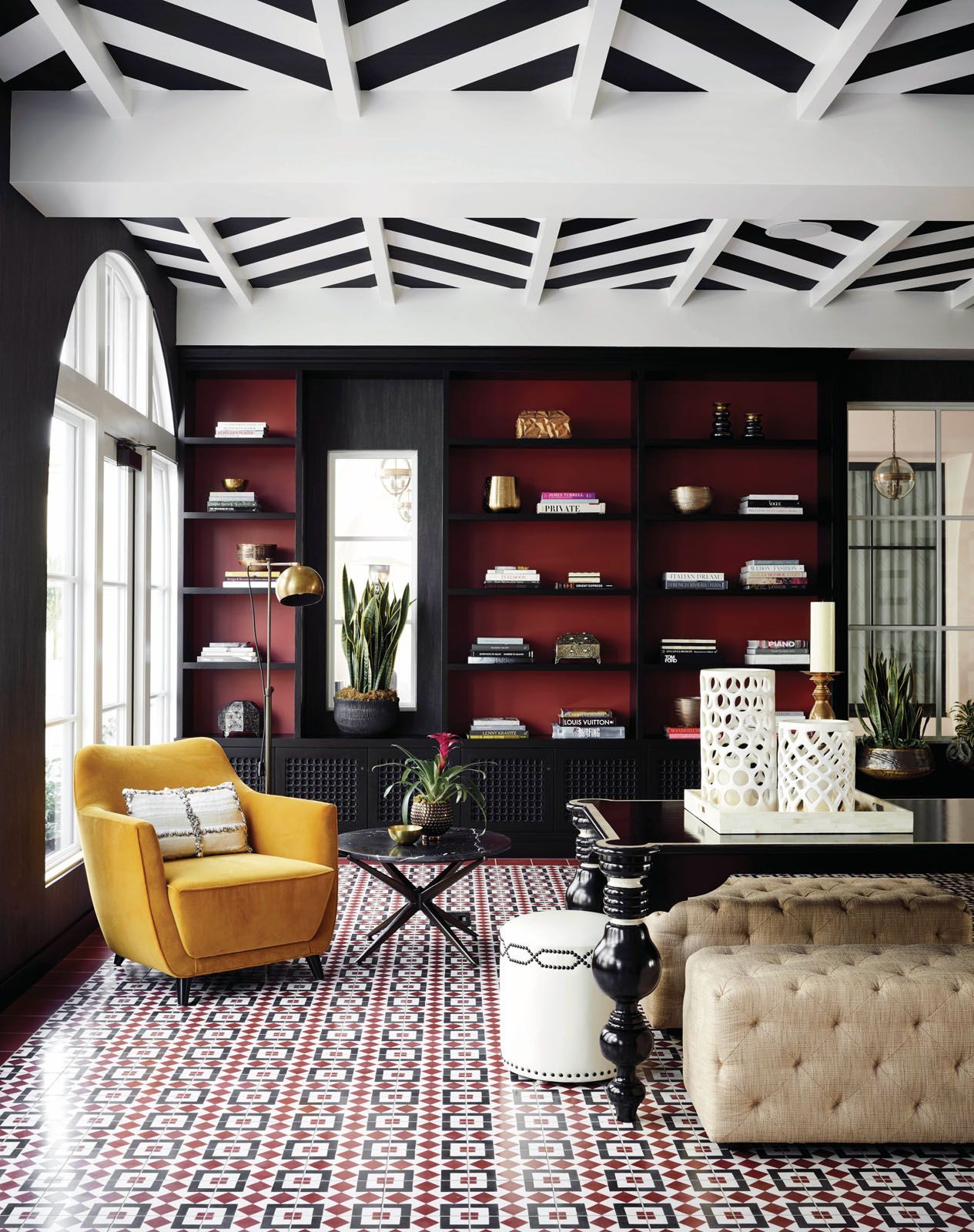 The lobby of Hotel Californian is a lively mix of colour, texture and pattern