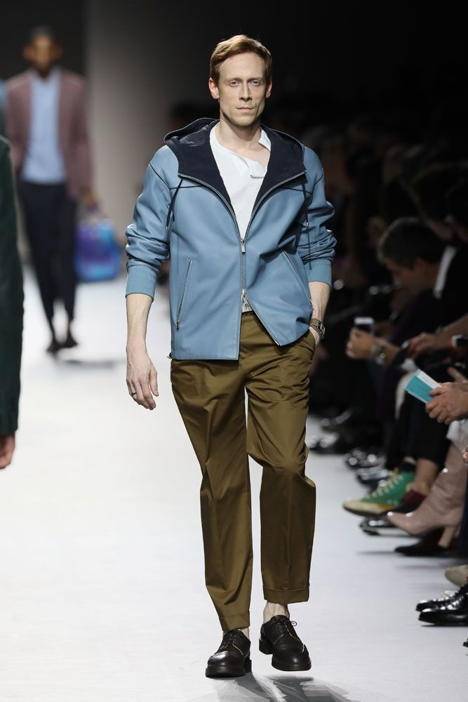 LONDON, ENGLAND - MARCH 21: Edward Watson walks the runway at Hermes: Step Into The Frame at Nine Elms, on March 21, 2019 in London, England. Pic Credit: Dave Benett