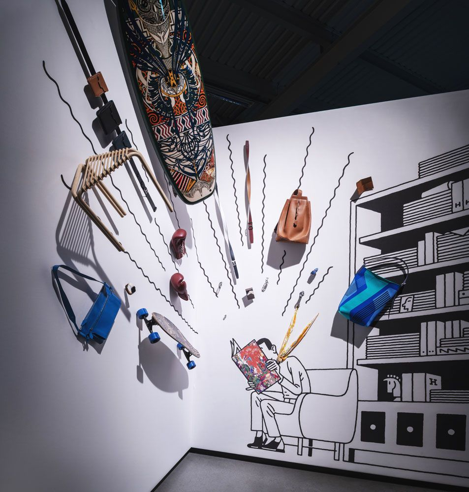 The Curious Case of The Book was a display exploding with Hermès accessories
