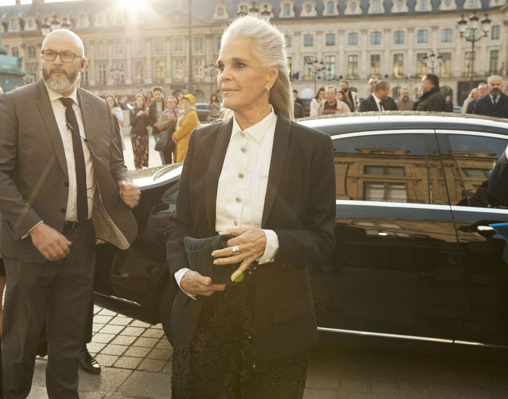 Ali McGraw, American actress and one of the 9 muses of the new J12, arrives at Place Vendôme (Photo: Courtesy of Chanel)