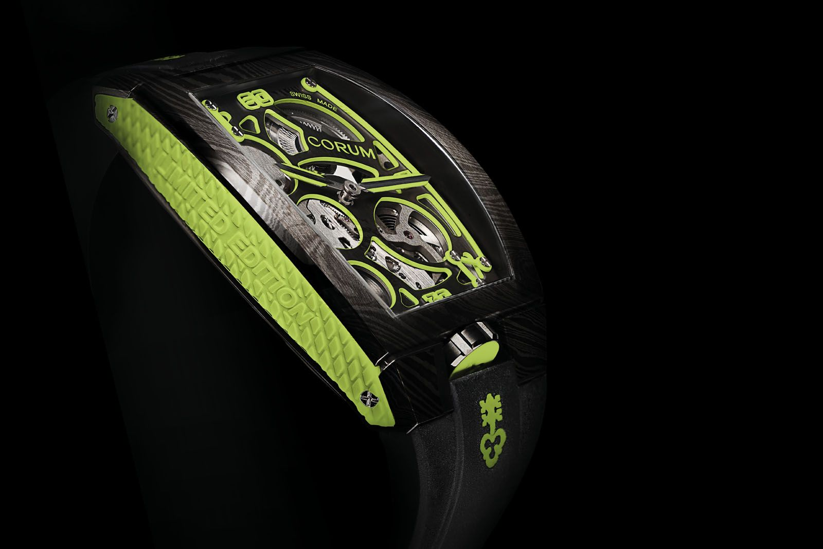 The futuristic look as well as accents such as lime green on the Lab 01 makes for a major deviation from the typical classical aesthetics of Corum's timepieces