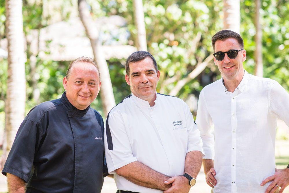 Shangri-La's Boracay Resort & Spa's executive chef, Gilles Galli (left) and GM, Dave Junker (right) with Shangri-La at the Fort executive chef, Joris Rycken (Photo courtesy of Shangri-La)