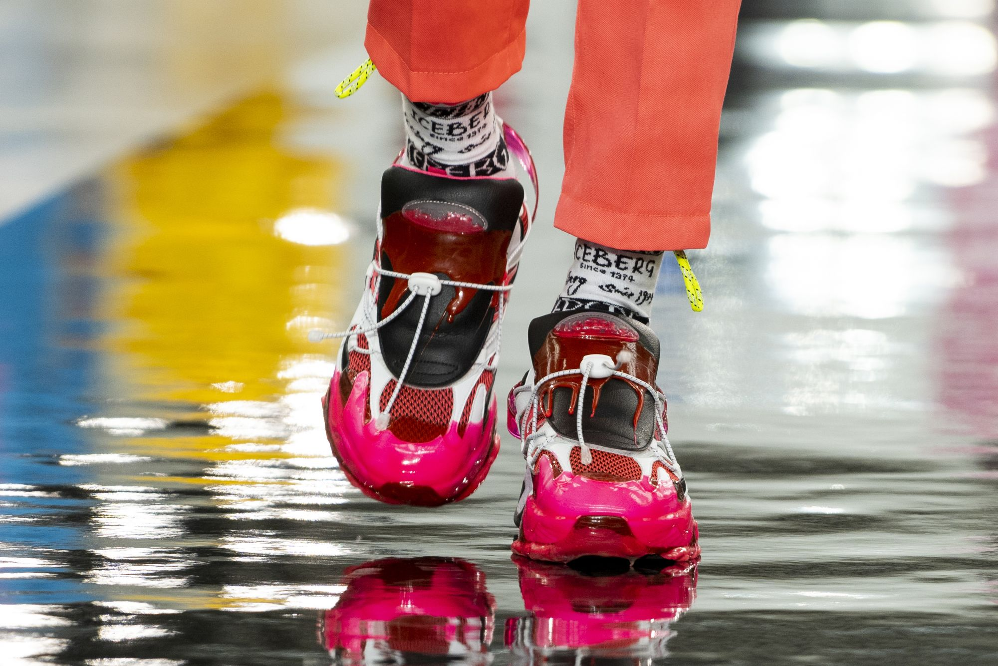 Iceberg brings a patchwork of vibrant colours to sneakers (Photo: Niklas Halle'n / AFP)