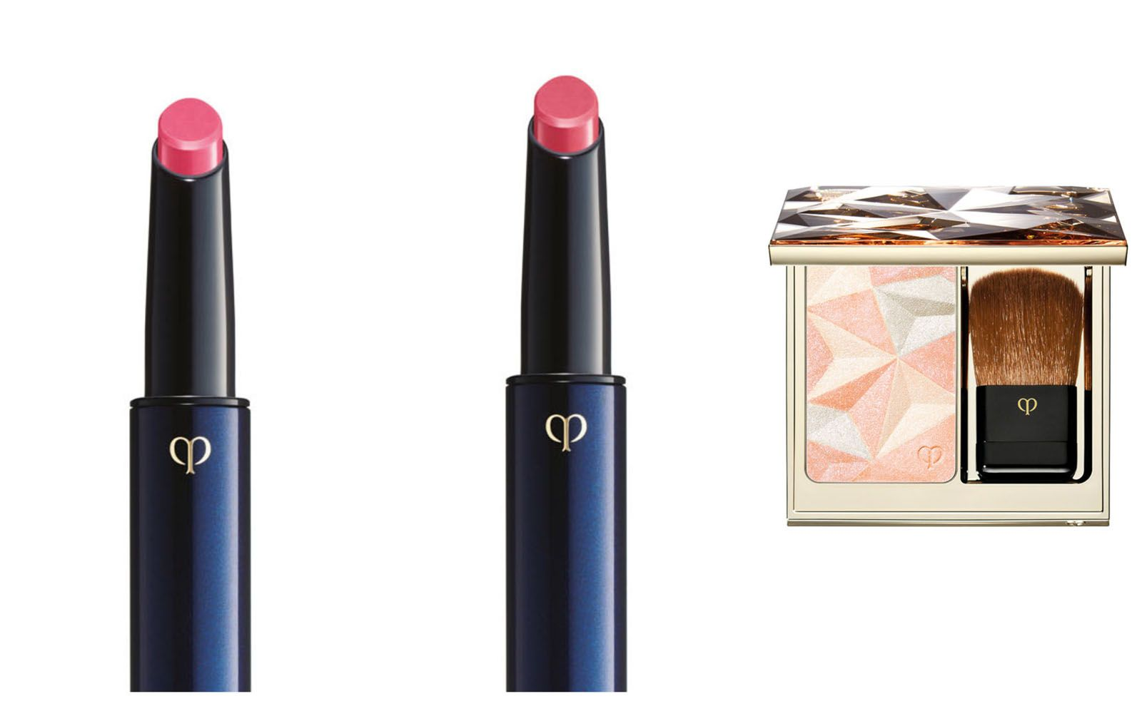 Clé de Peau Beauté Refined Lip Luminizer in Sweet Satin (left) and Rose Dragée; and the Luminizing Face Enhancer in shade 18