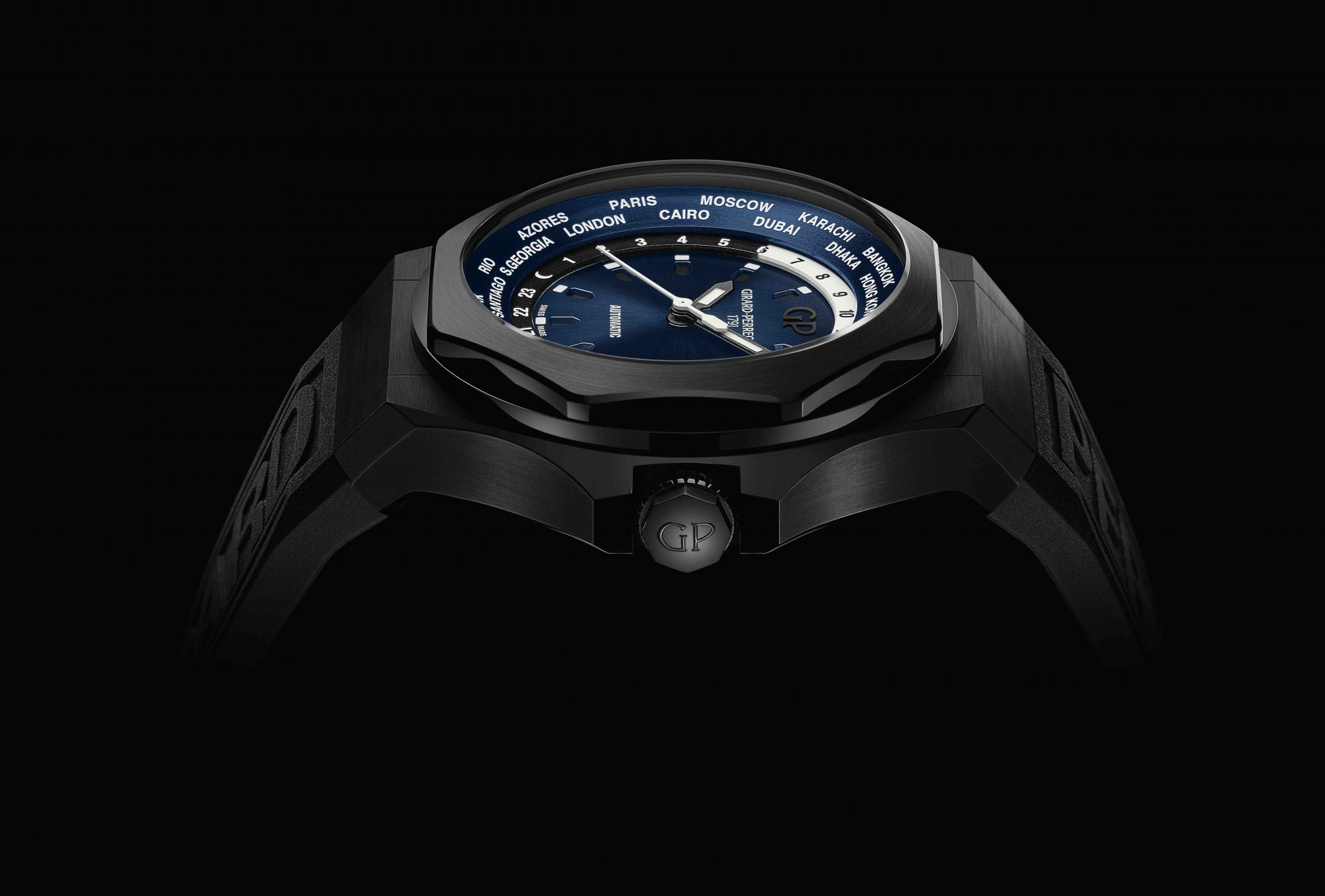 The Girard‑Perregaux Laureato Absolute watch is dark and handsome, and boasts elements such as a rubber strap injection‑moulded with the brand name