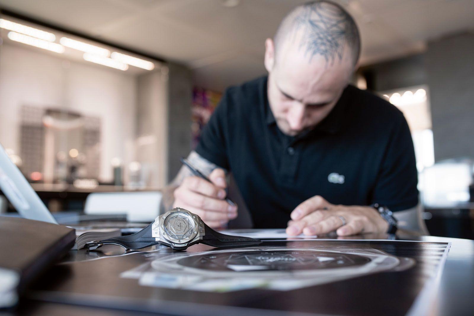 Swiss tattoo artist Maxime Plescia-Buchi is the creative mind behind the Hublot Big Bang Sang Bleu series and the new Big Bang Unico Sang Bleu II watch