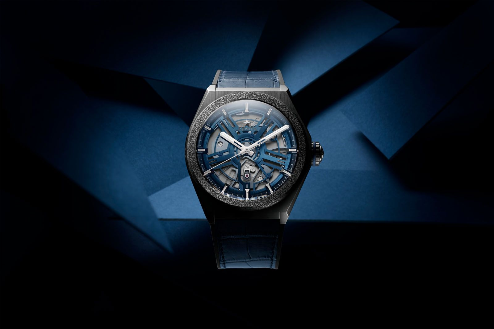 The Defy Inventor uses Aeronith, an extra-light aluminium composite reportedly developed by Zenith's sister brand, Hublot, for its bezel, while the rest of its case is crafted out of titanium
