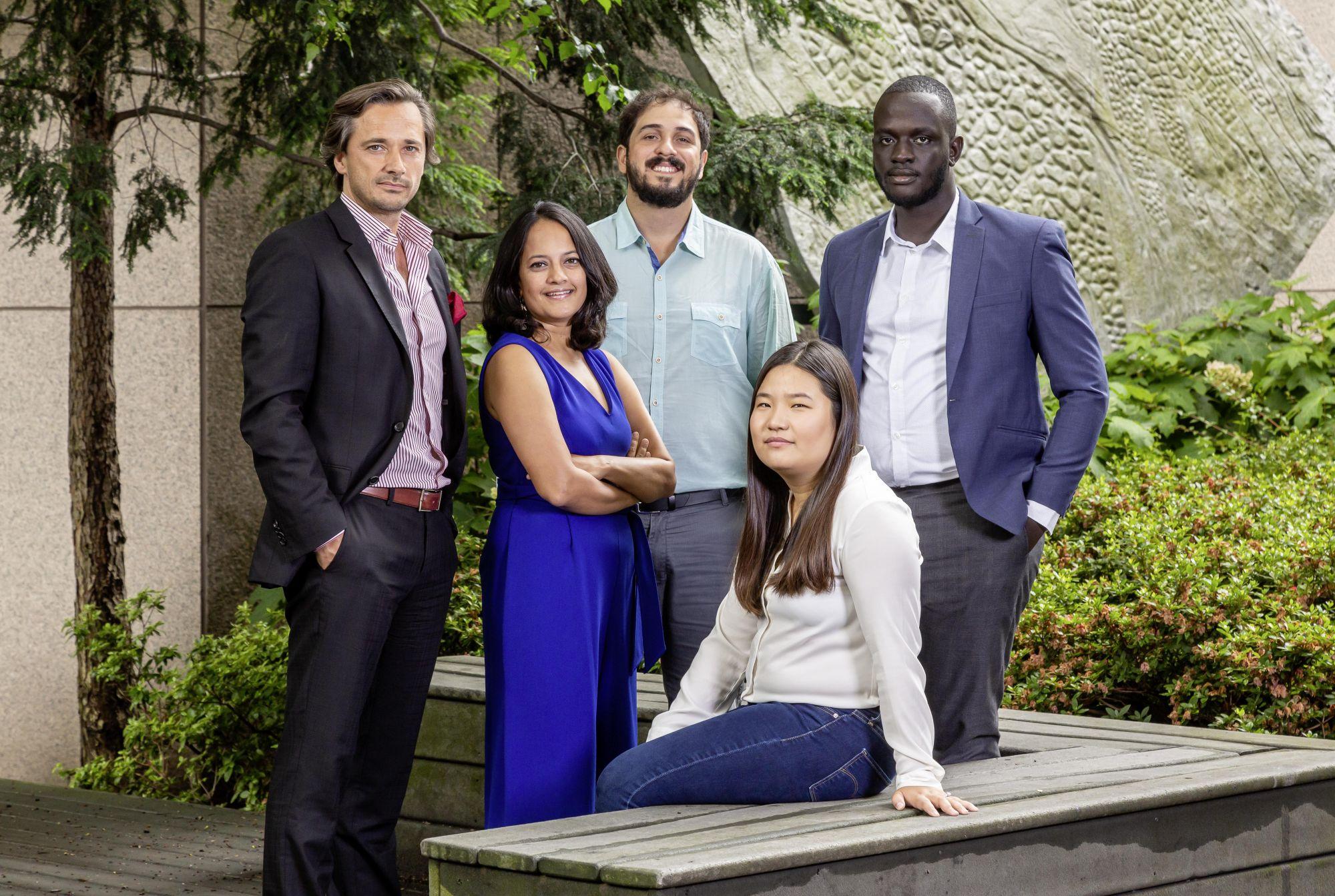 Laureates Rolex Awards for enterprise 2019. From left: Grégoire Courtine, Krithi Karanth, João Campos-Silva, Miranda Wang, Brian Gitta.