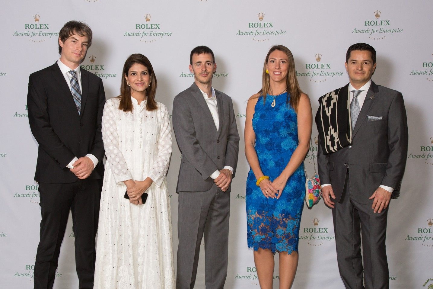 2019 Rolex Awards associate laureates: Topher White, Sara Saeed, Yves Moussallam, Emma Camp, and Pablo García Borboroglu