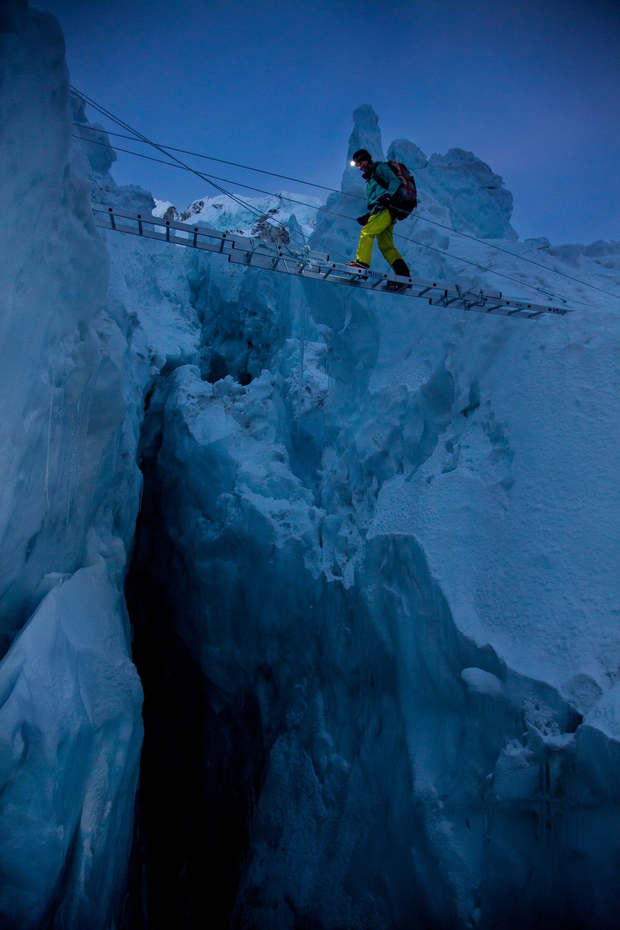 A member of the Perpetual Planet Extreme Expedition at Khumbu Icefall at Mount Everest