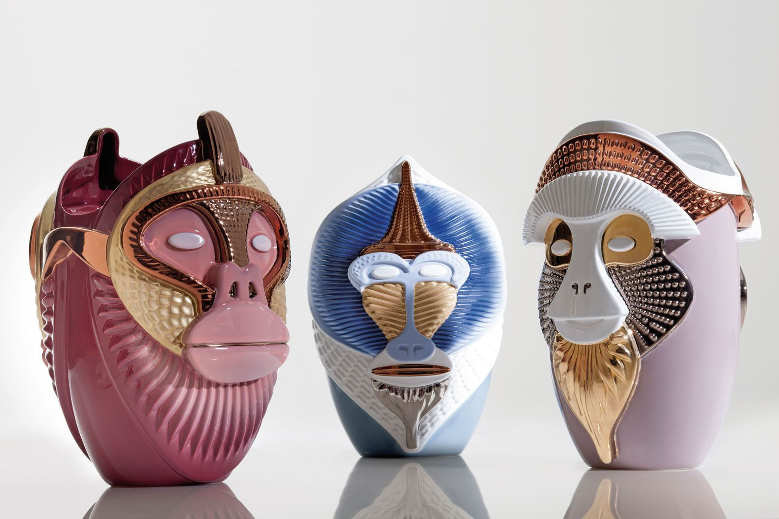 Ceramic vases from the Primate collection for Bosa; Milan-based designer and artist Elena Salmistraro
