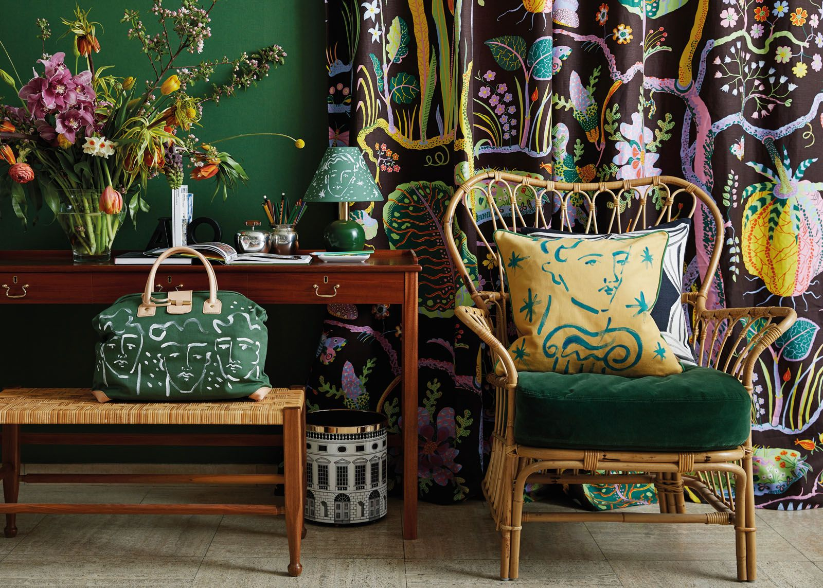 Accent cushions, handbag and table lamp from the Svenskt Tenn x Luke Edward Hall collection