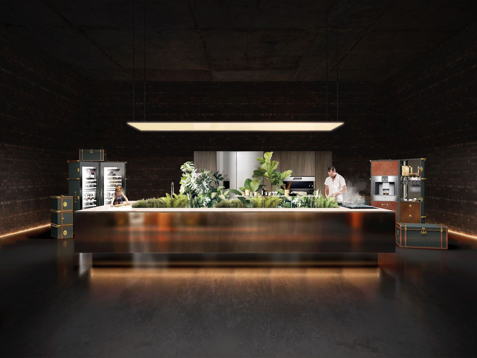 A Kitchen Island Integrated With An Indoor Garden Even