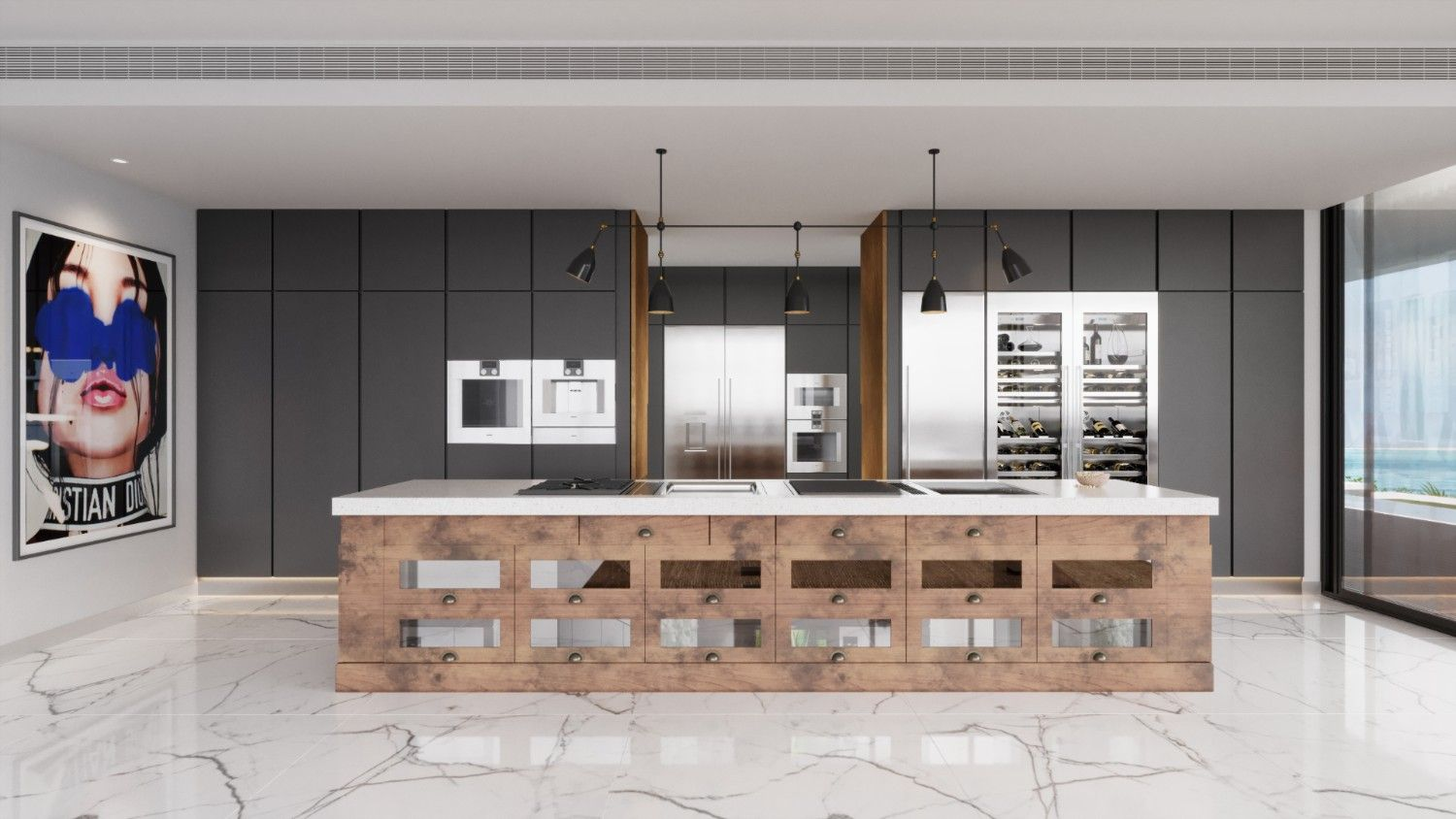 This Industrial Kitchen Design Concept Pairs Minimalist Elements With Rustic Decor
