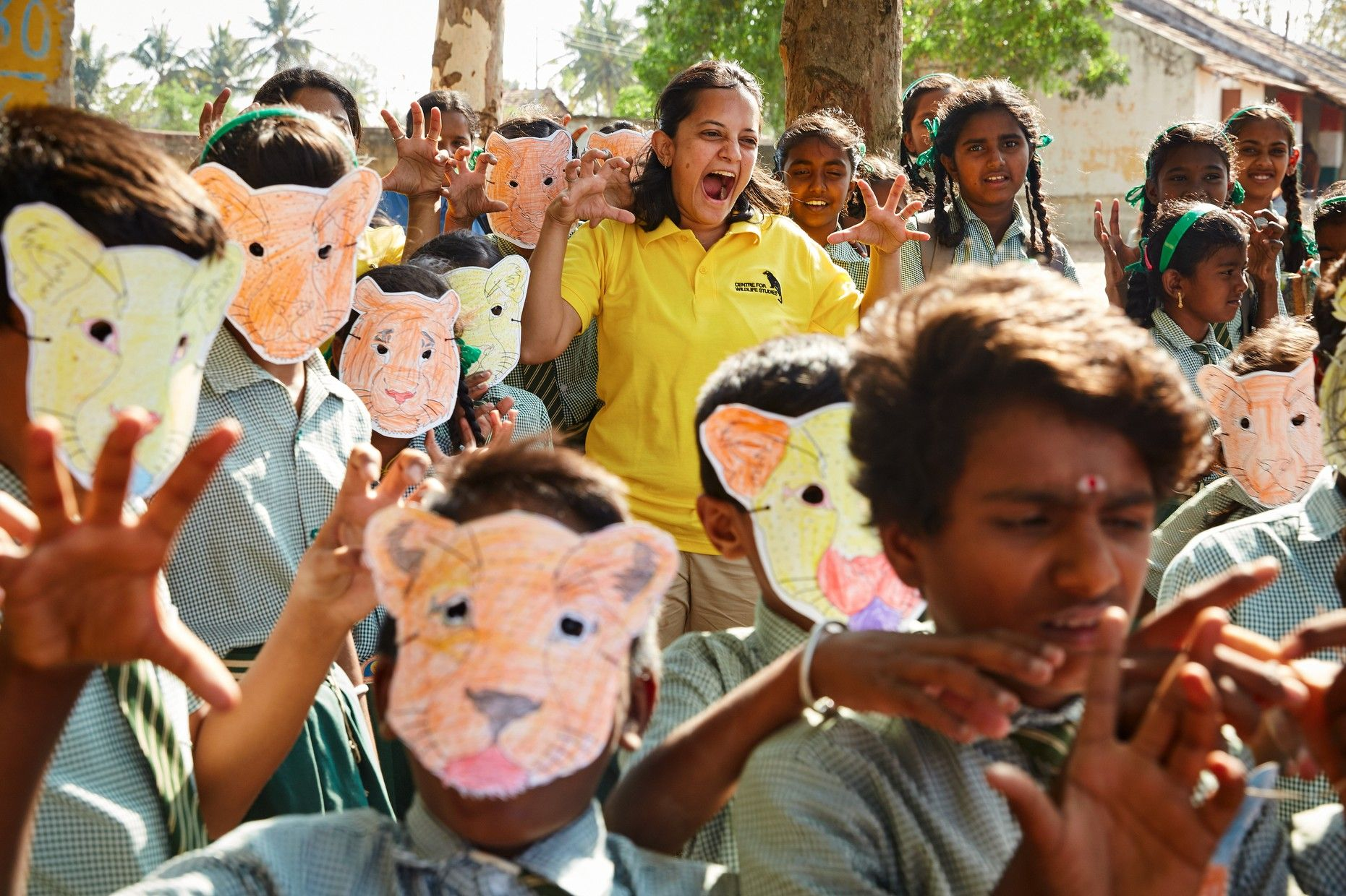 Krithi Karanth (in yellow) participates in a school workshop by Wild Shaale, as part of its education outreach