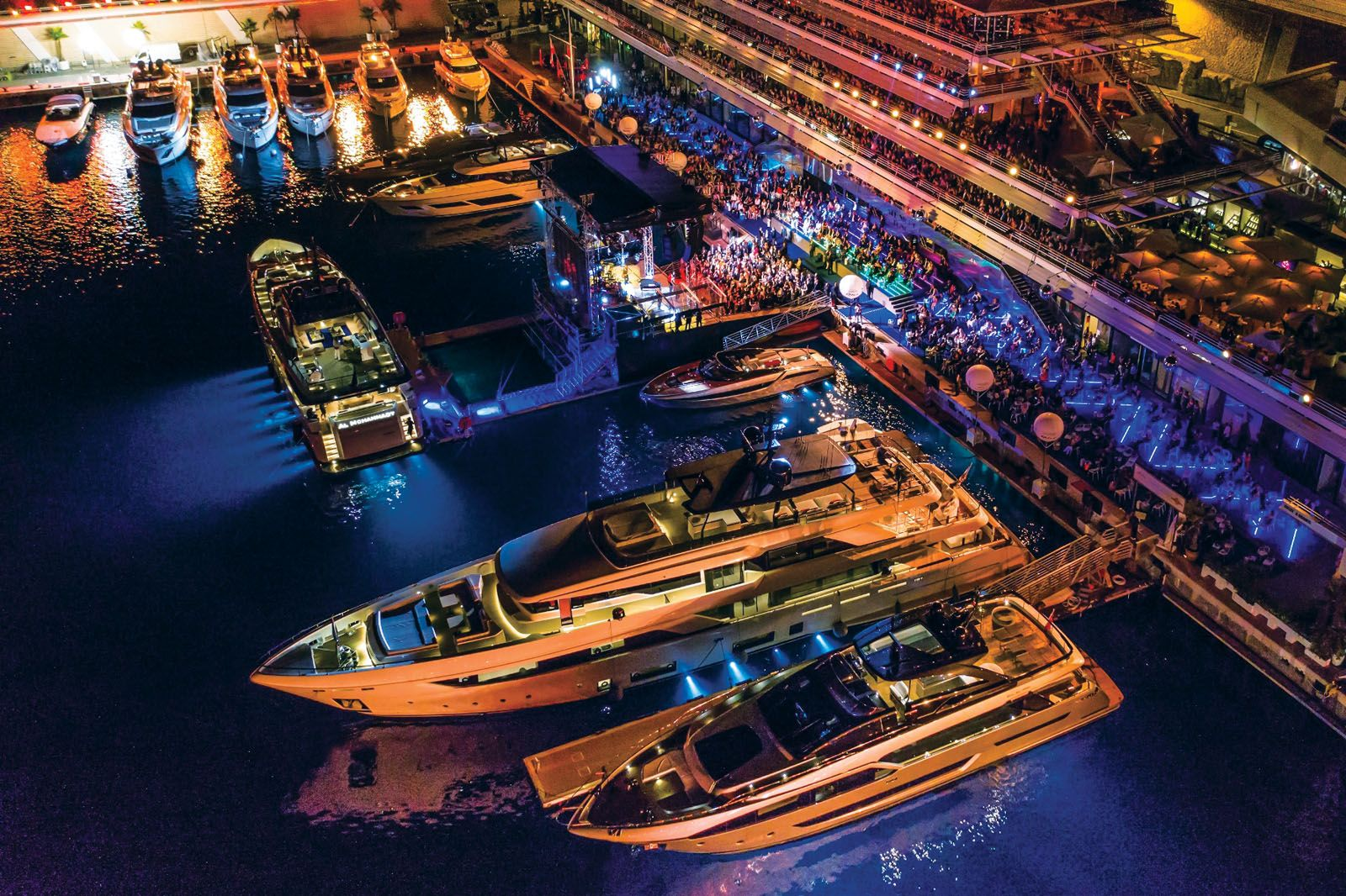 The glowing display of the Ferretti Group's yachts this year