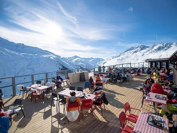 Restaurant Natschen, one of the many dining options in the village, boasts a breathtaking view of the Alps