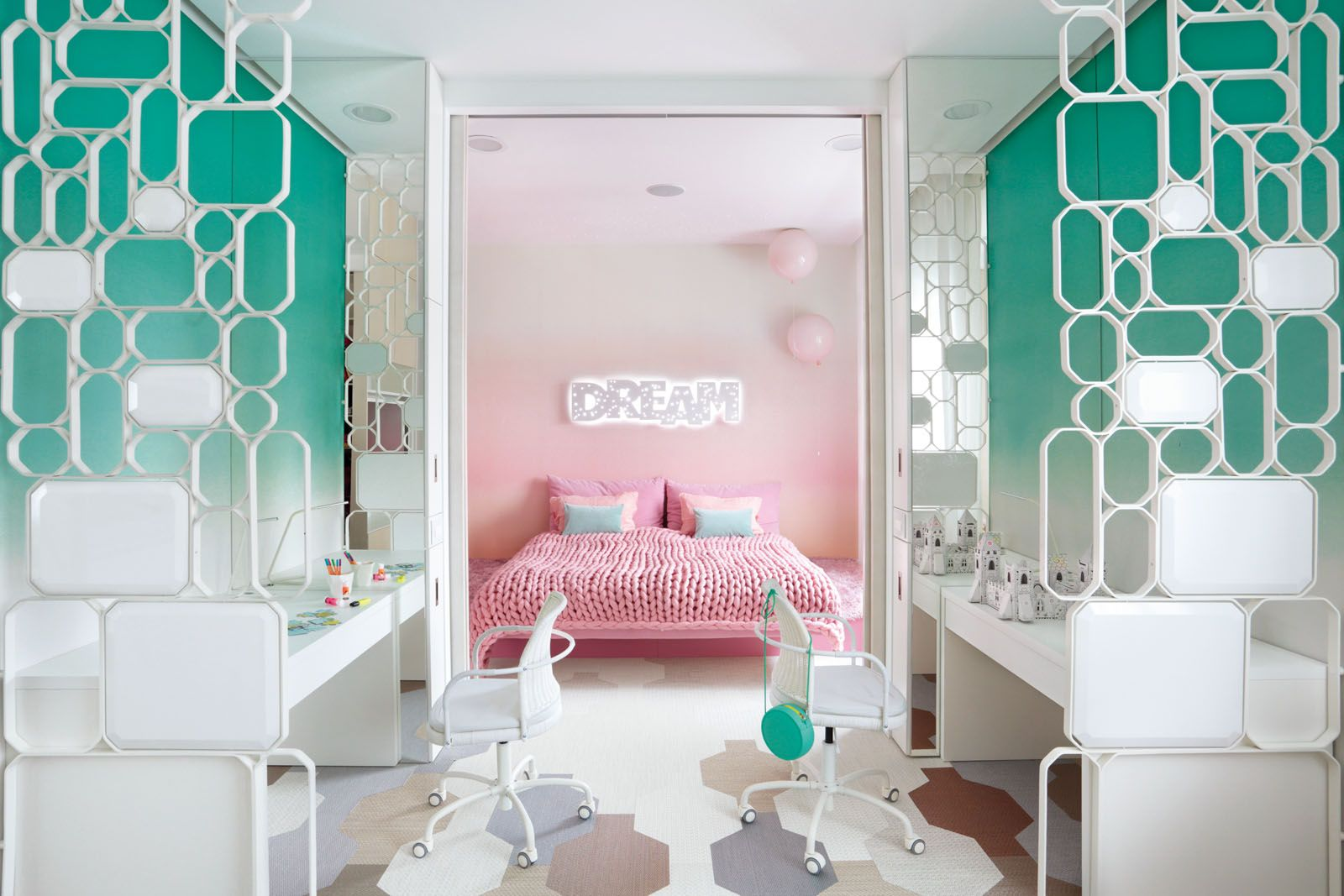 The Memory lamps from Brokis add a whimsical touch to the daughters' bedroom