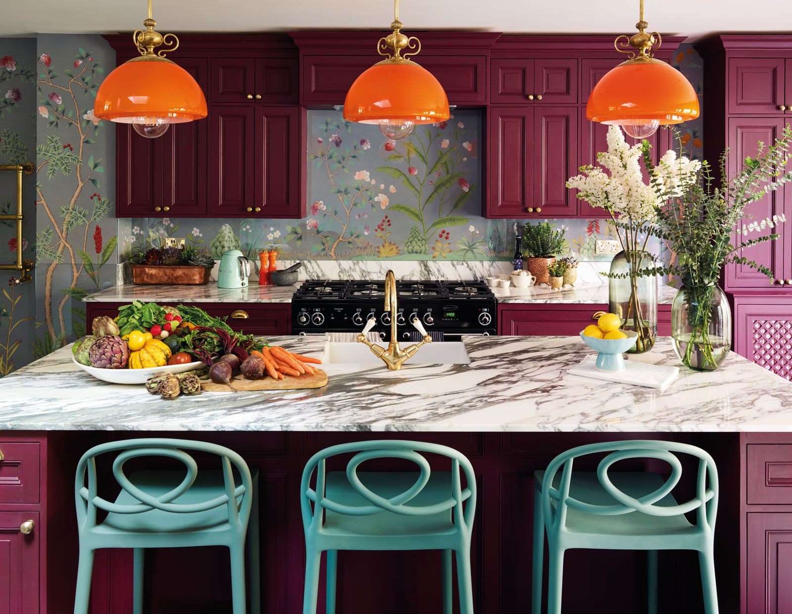 The purple cabinetry adds to the retro look of the kitchen