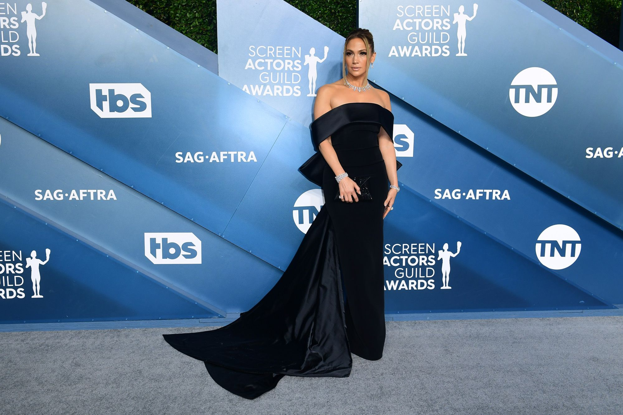 US actress Jennifer Lopez arrives for the 26th Annual Screen Actors Guild Awards at the Shrine Auditorium in Los Angeles on January 19, 2020. (Photo by FREDERIC J. BROWN / AFP)