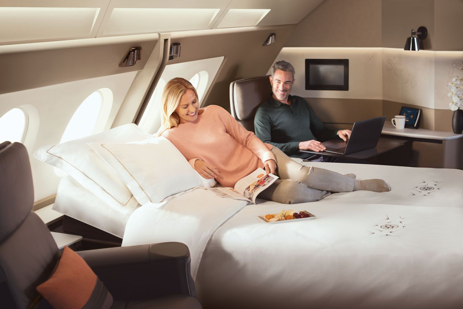 Singapore Airlines' Double Suites allows you to create a luxurious double bed on board