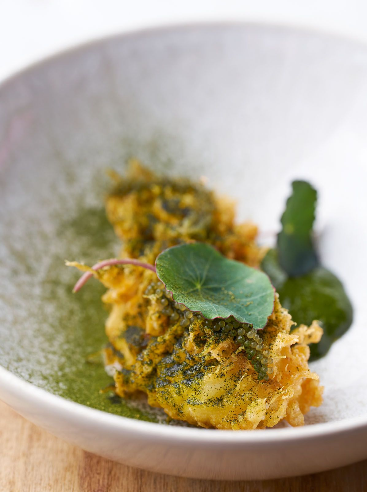 Local wild caught crayfish, dipped in batter, deep-fried and served with Victorian nasturtium puree, from restaurant Labyrinth