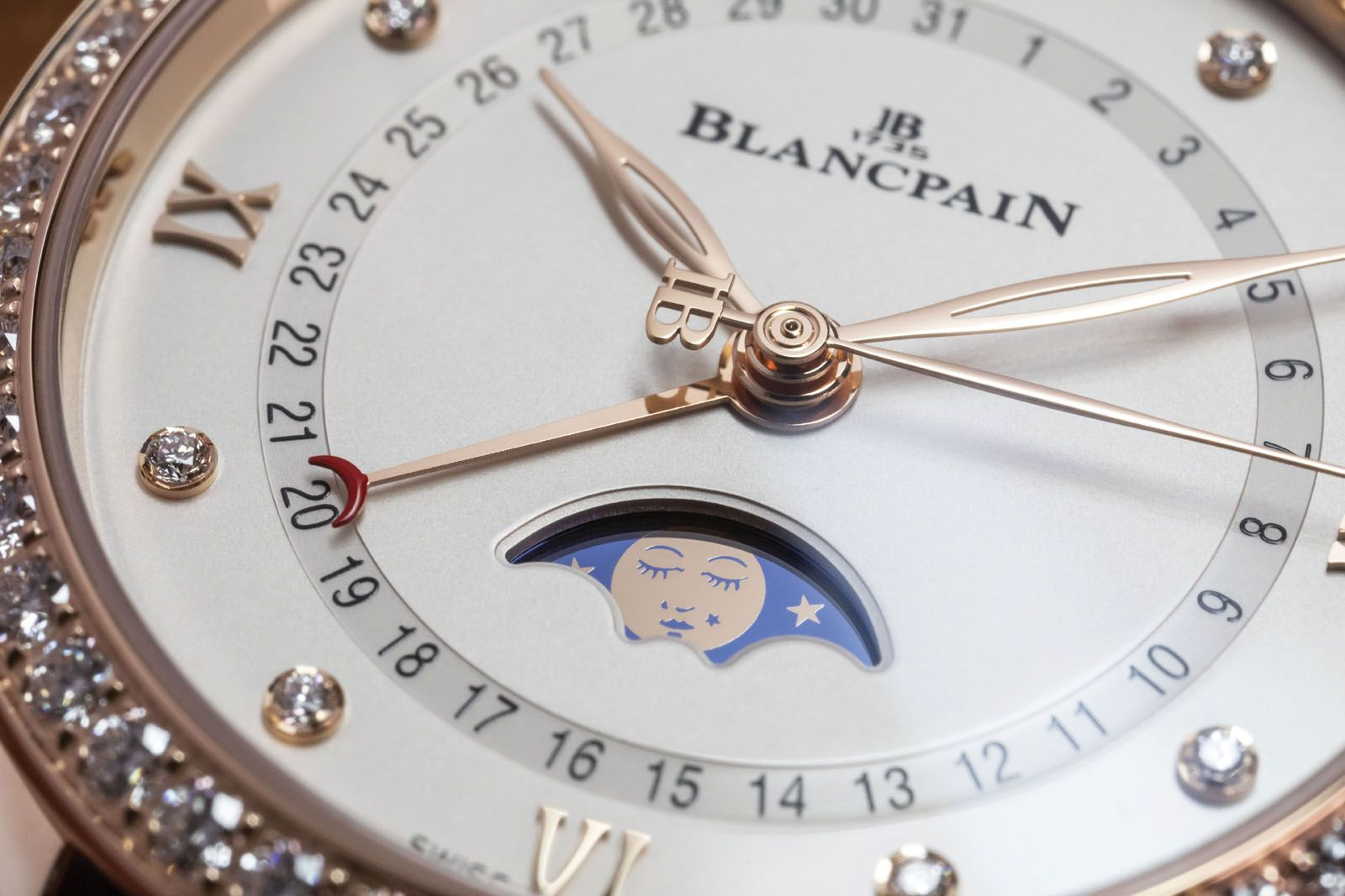 The moon featured in Blancpain's women's moonphase watches sports a beauty mark, just like the one screen legend Marilyn Monroe had on her left cheek
