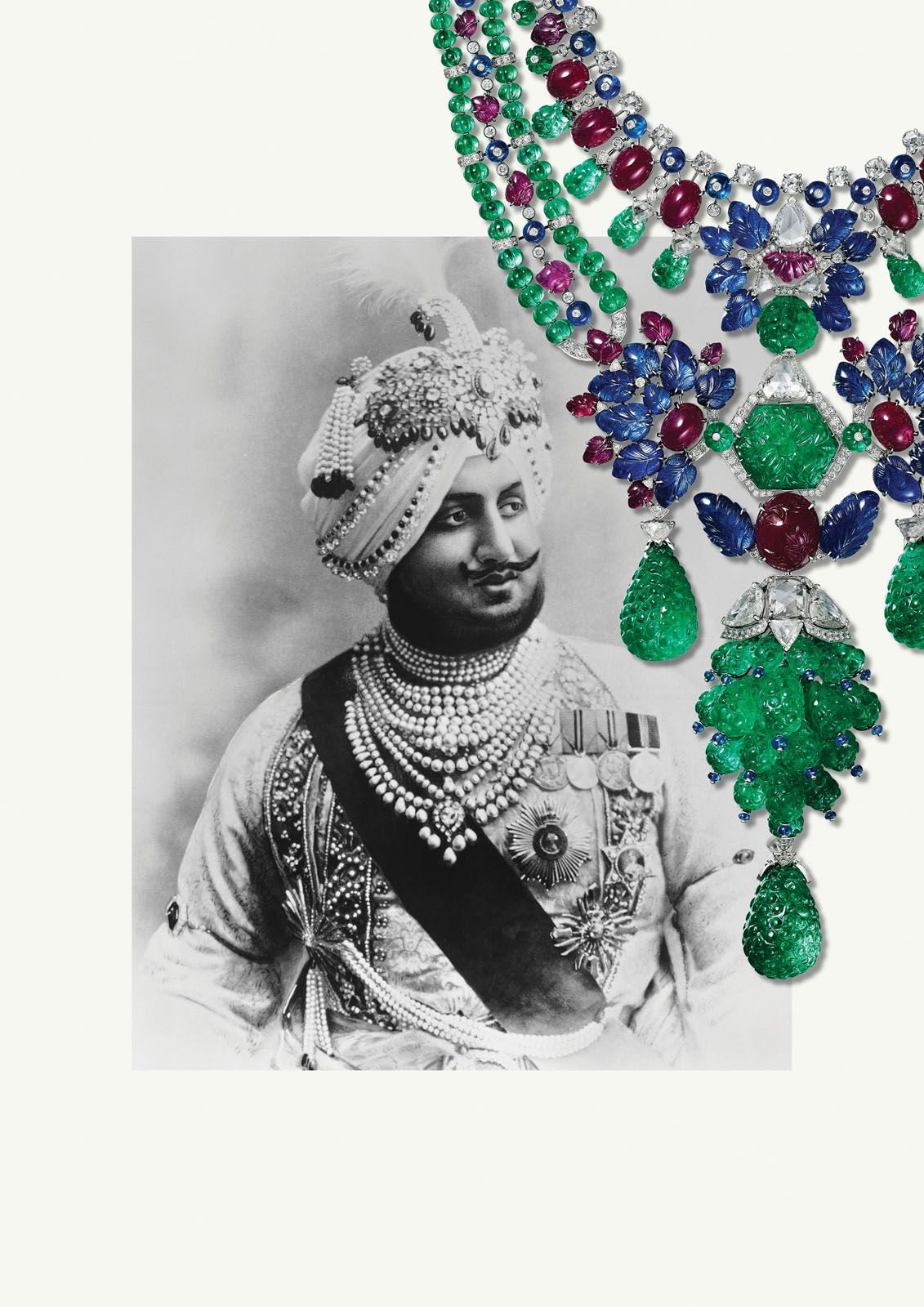 Maharajah of Patiala, Bhupinder Singh, photographed in 1911 wearing the jewels that were later remounted by Cartier in the 1920s; the Maharajah necklace fuses both Indian design influences and Cartier's aesthetic sensibilities