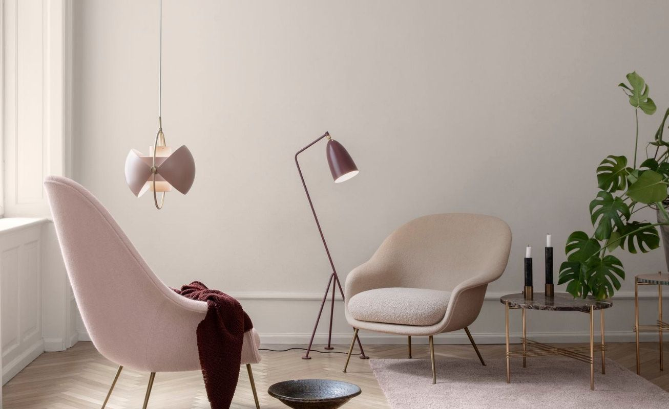 Armchairs and lighting from Gubi