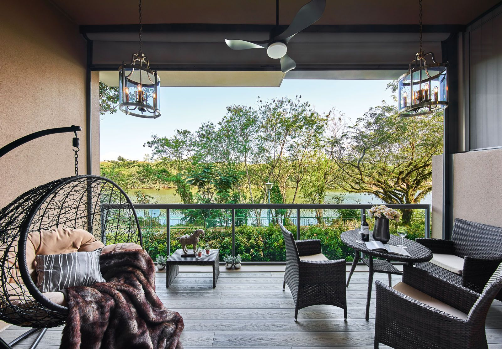 The outdoor terrace is the family's preferred spot for breakfast