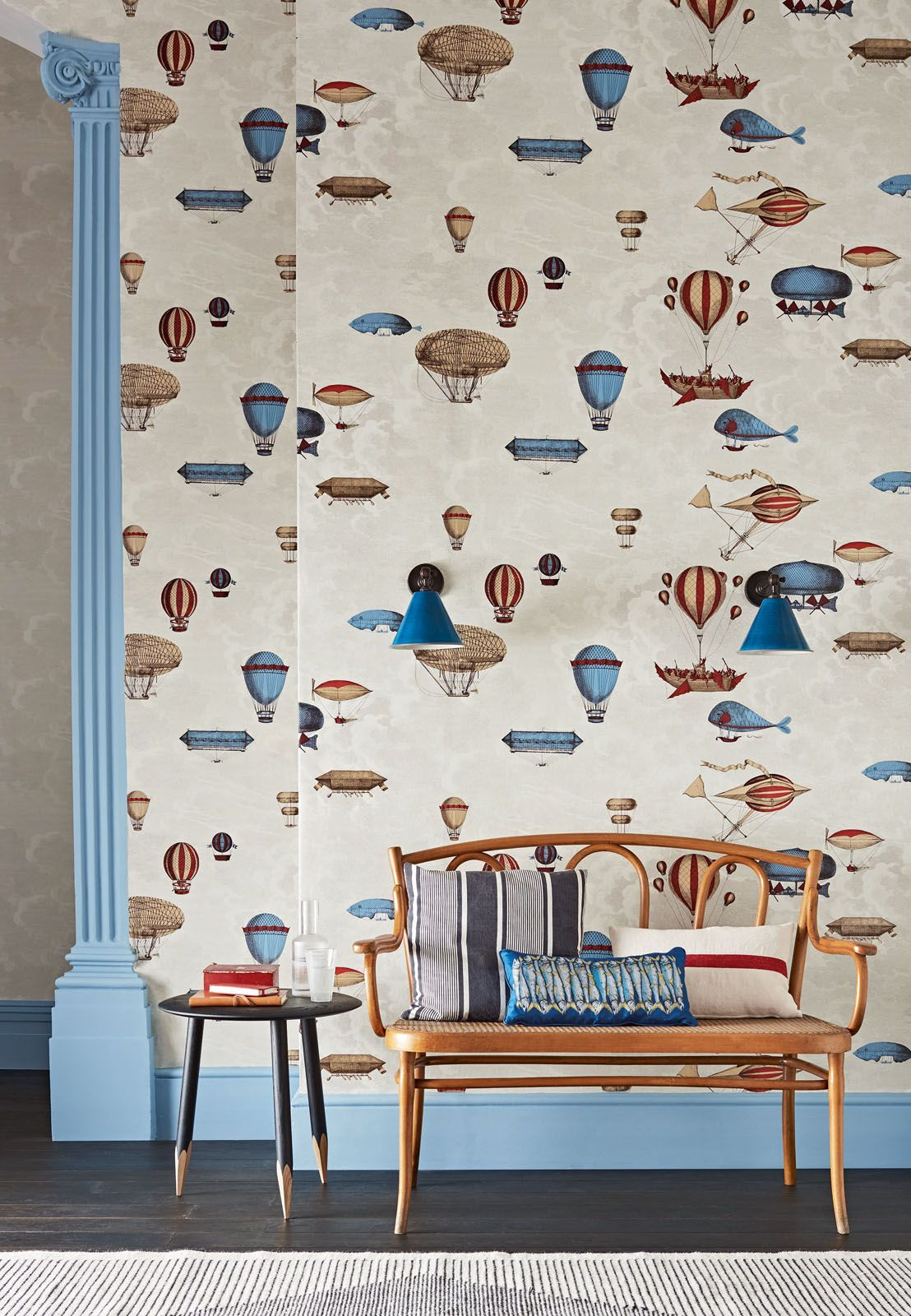 The Macchine Volanti wallpaper from Cole & Son's Fornasetti Senza Tempo collection, from Goodrich Global
