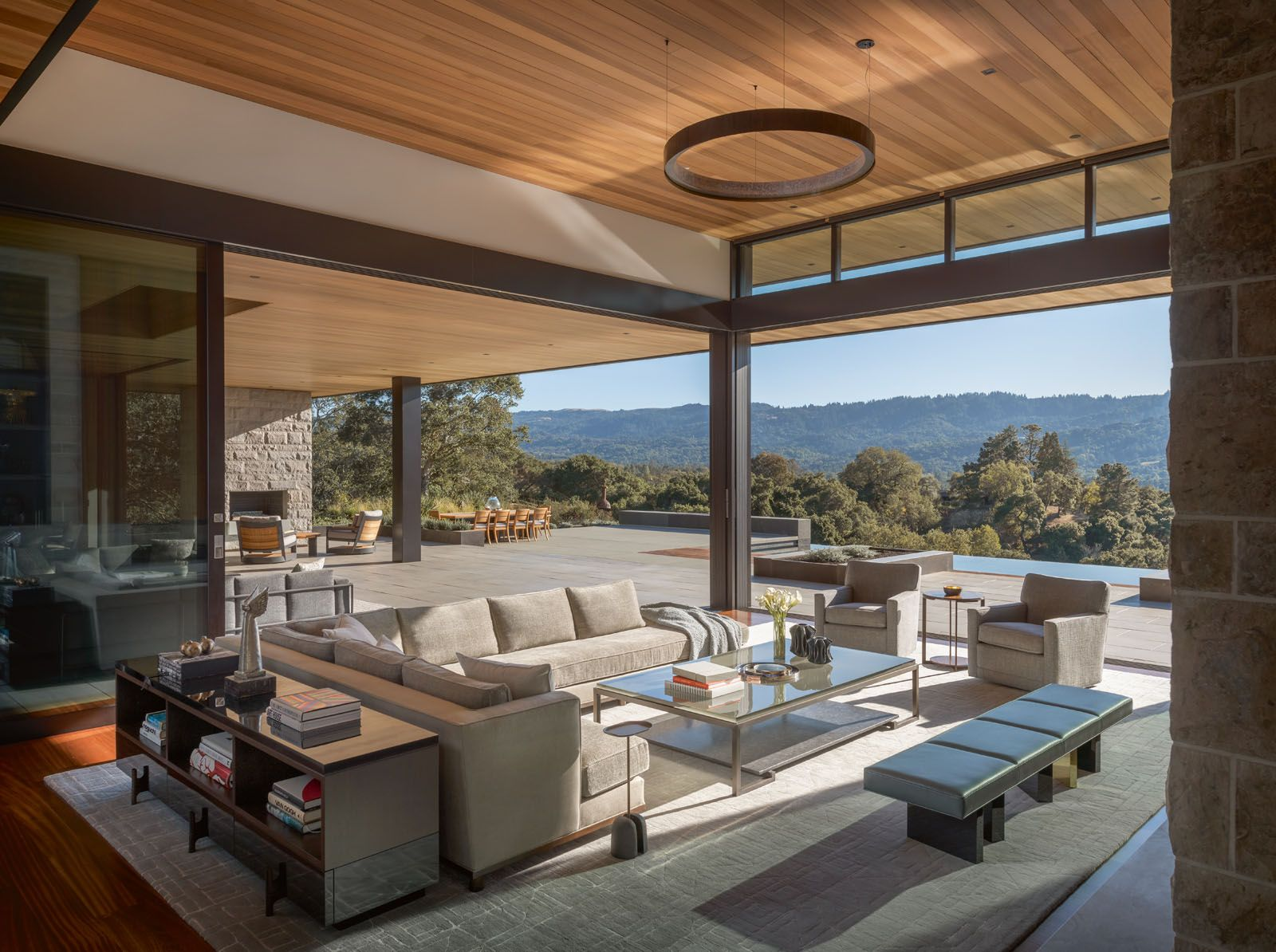 The large outdoor terrace offers ample space for outdoor dining and meditation