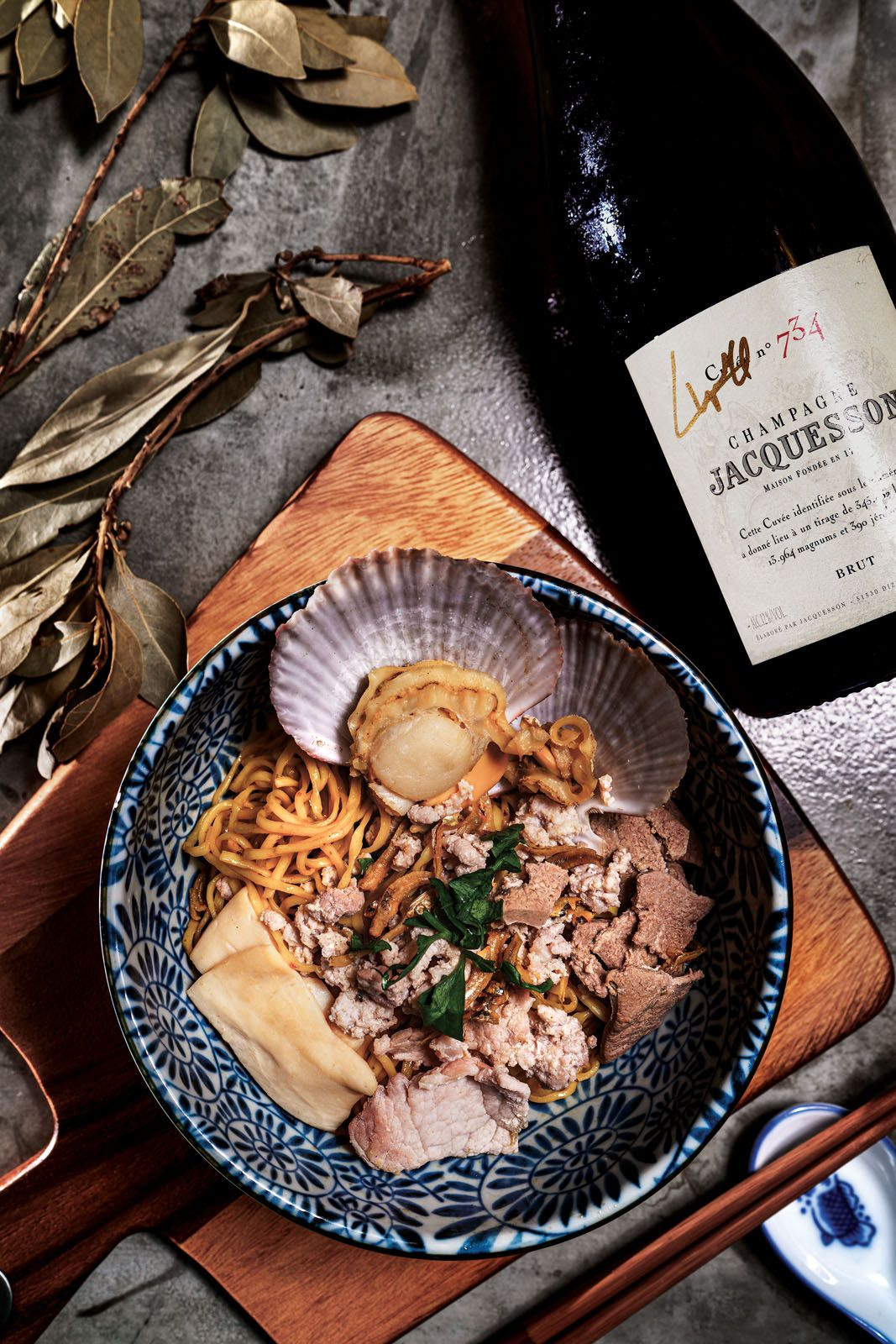Crisp champagne with bright citrus notes helps lift the savouriness of flavourful dishes, but pick one that balances the vinegar used in dishes like bak chor mee
