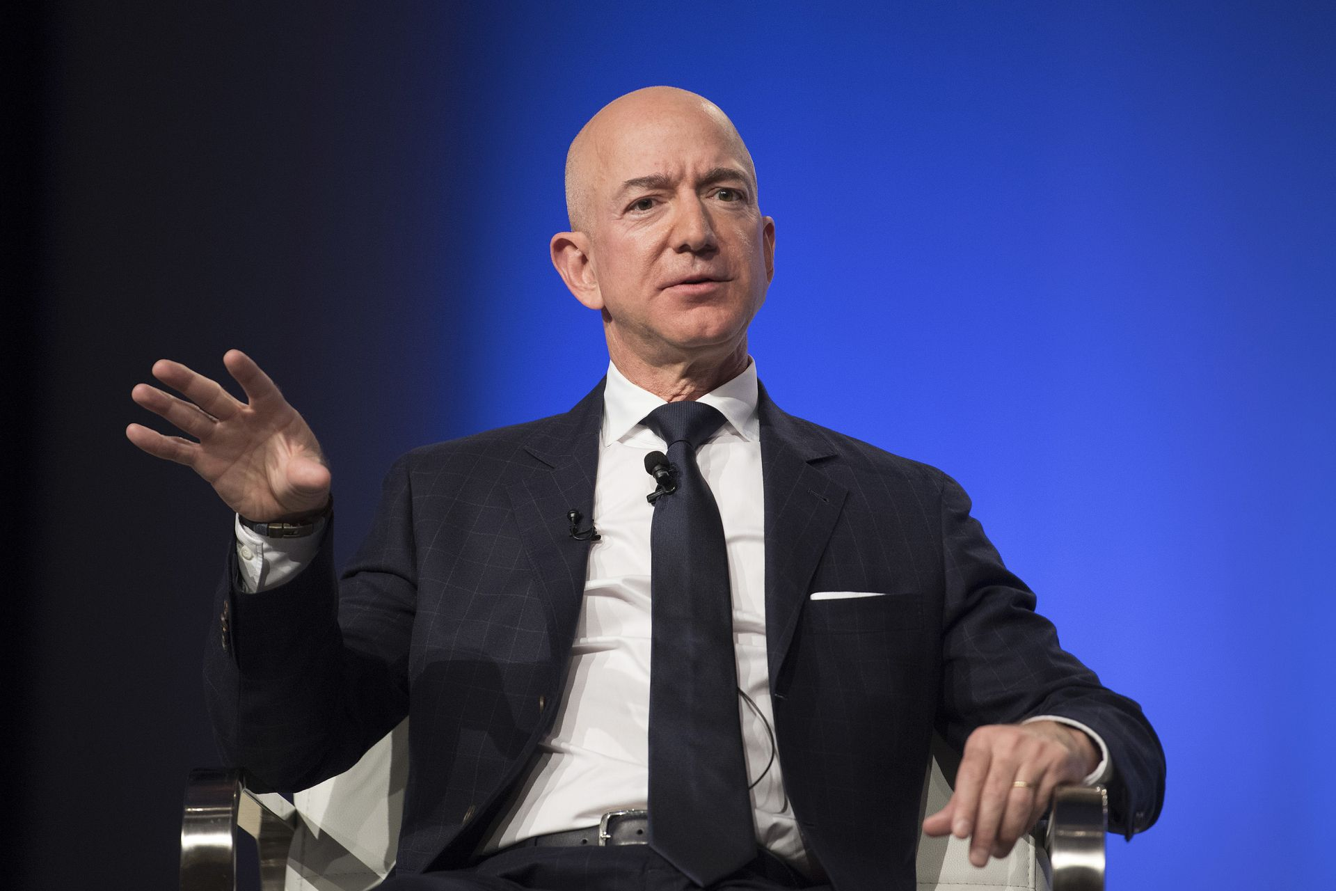 Amazon and Blue Origin founder Jeff Bezos provides the keynote address at the Air Force Association's Annual Air, Space & Cyber Conference in Oxen Hill, MD, on September 19, 2018. / AFP PHOTO / Jim WATSON