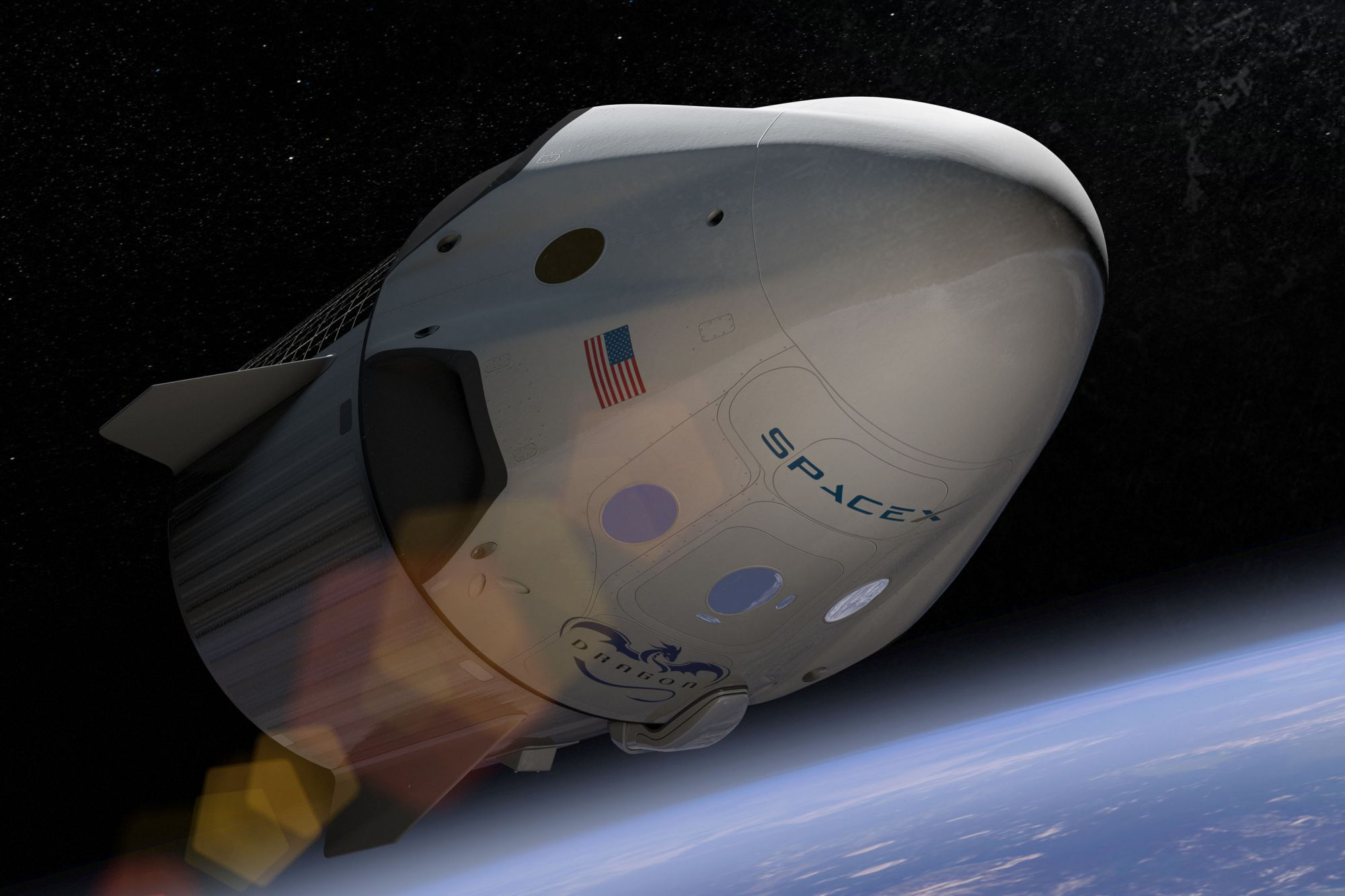 Artist depiction of the Crew Dragon, unveiled in 2014. (Image: SpaceX/Flickr)