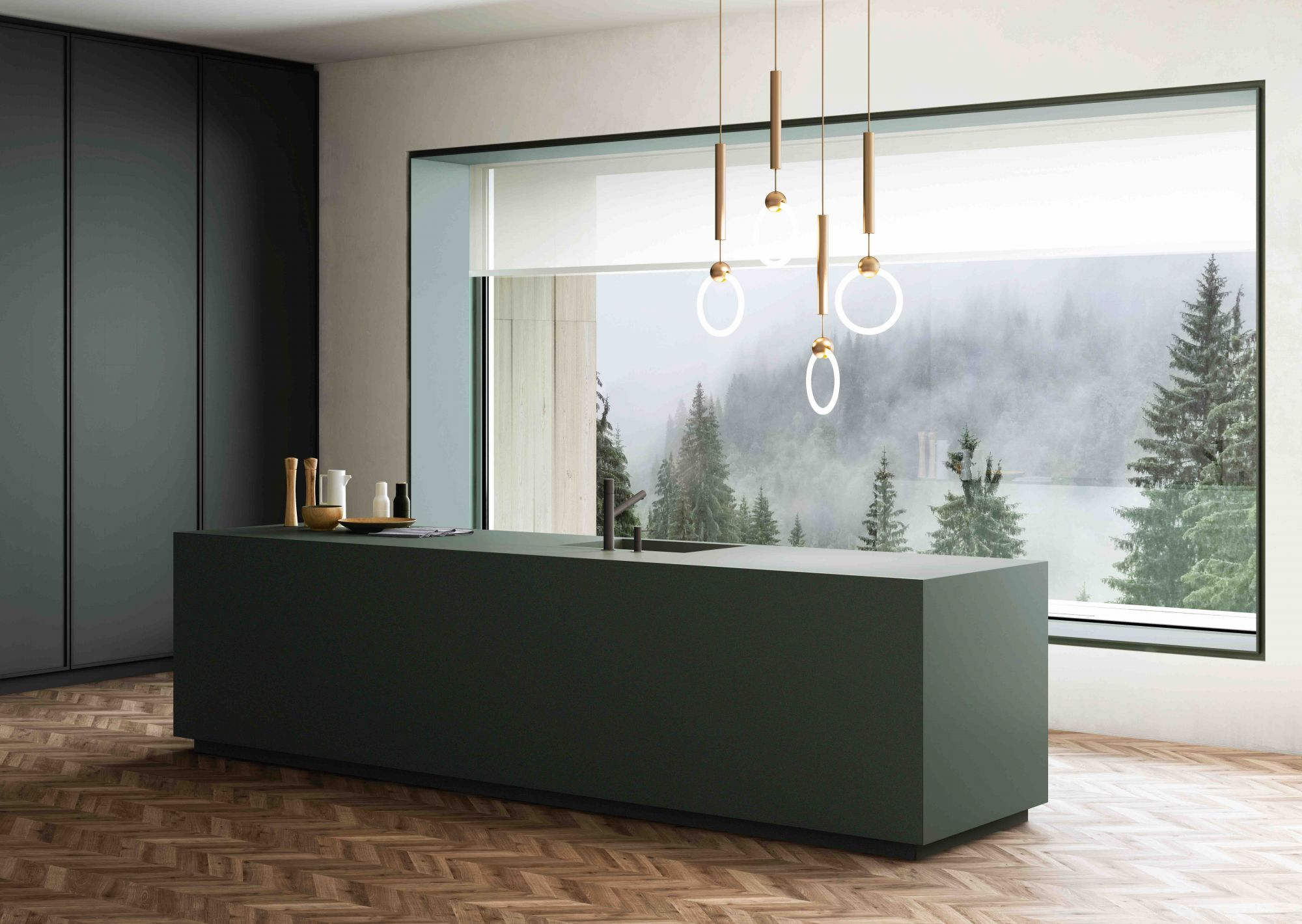 Available at Cosentino, the Dekton Feroe collection features a verdant colour inspired by nature