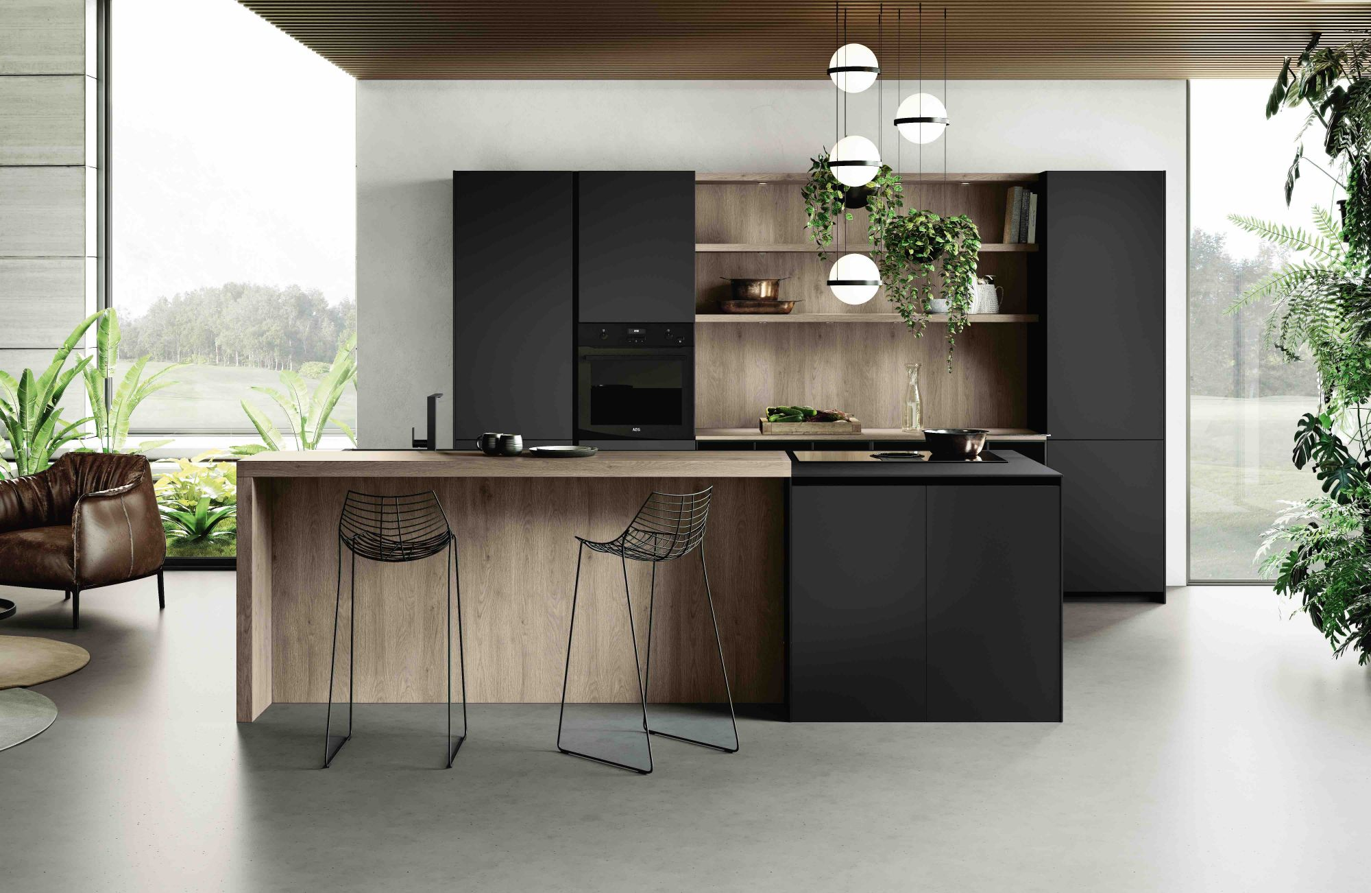 The Loto kitchen system by Miton in black, available at W. Atelier