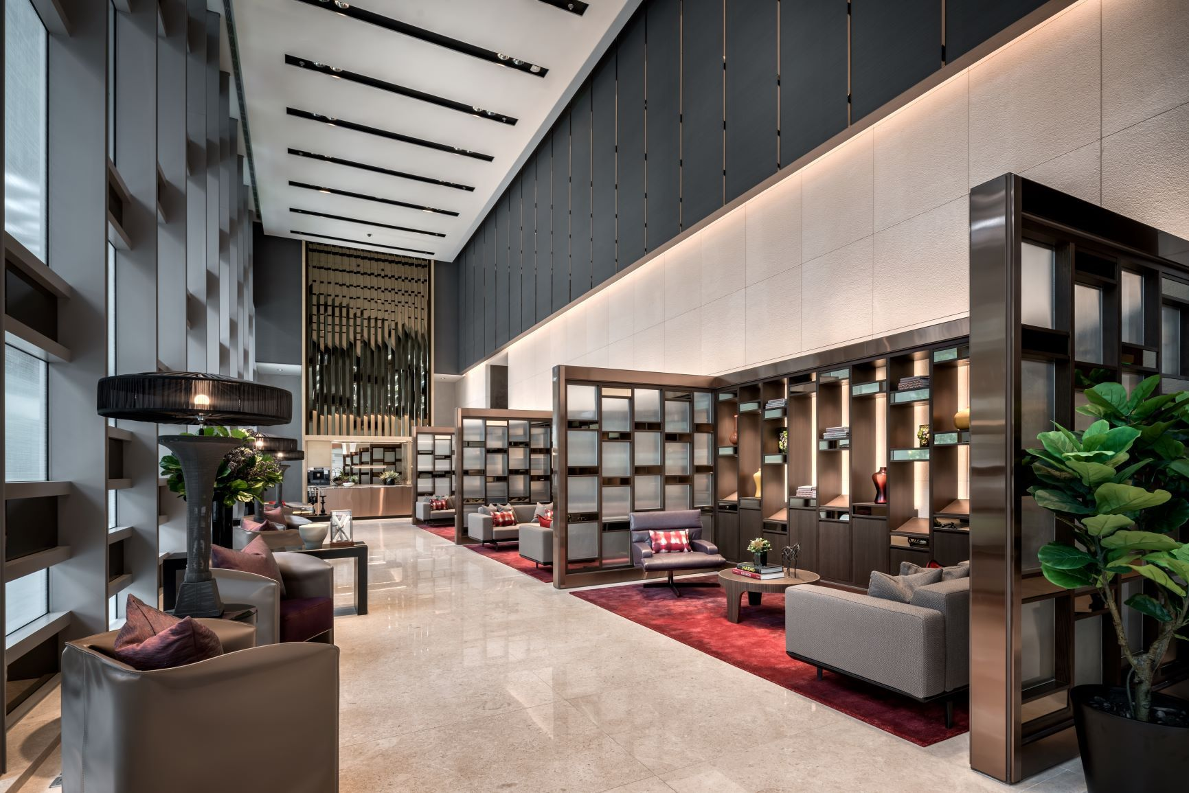 The arrival lobby of Wallich Residence, a luxury residential property in Tanjong Pagar by GuocoLand that's also housed in Singapore's tallest skyscraper