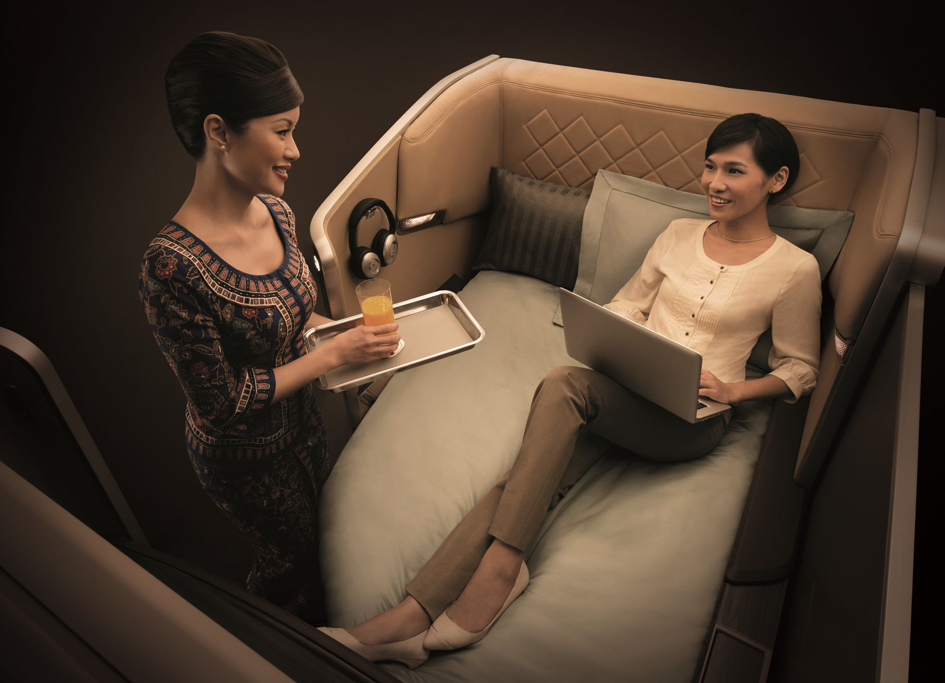 First Class: As seen on the retrofitted 777-300ER aircraft.
