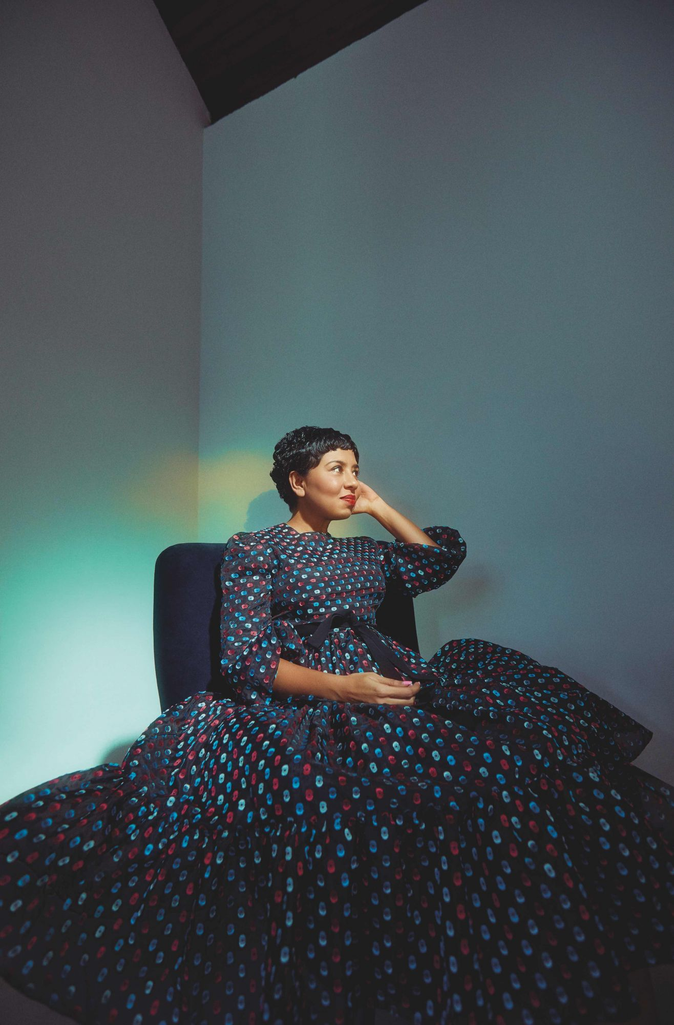 Dipa Swaminathan wears a Erdem dress, available at Club 21