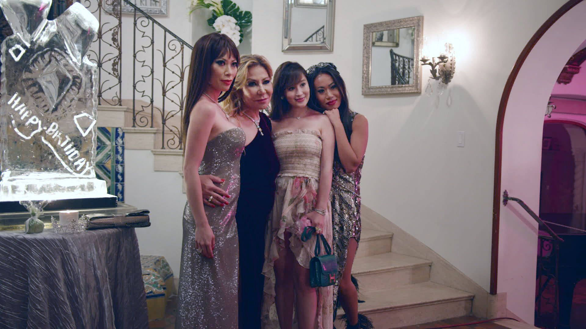 "(L-R) Christine Chiu, Anna Shay, Cherie and Kelly Mi Li in episode 7 ""Kevin and Kane Take Charleston"" of Bling Empire: Season 1. c. Courtesy of Netflix © 2021"