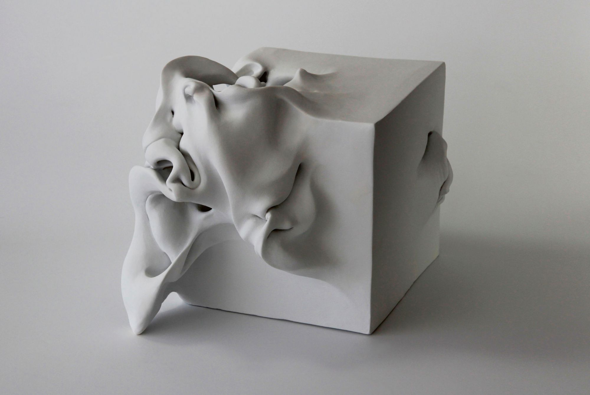 Cube 2 ceramic sculpture by Israeli  artist Sharon Brill from theartling.com